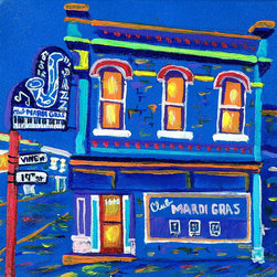 Sixteen Historic Jazz Club Prints, Mardi Gras - These Sixteen  prints of original paintings by Sheron Smith.  These  are actual nightclubs and speak-easys  that existed during the early 1900's . The clubs are painted in surreal colors! They make an interesting grouping in any room or recreation/music setting.  Each print is 8x8 inches.