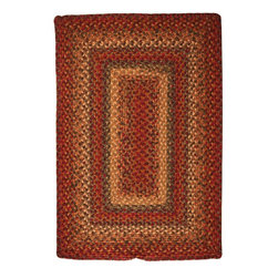 Homespice Decor - Braided Neverland 2'x3' Rectangle Red-Green Area Rug - The Neverland area rug Collection offers an affordable assortment of Braided stylings. Neverland features a blend of natural Red-Green color. Machine Made of 70% cotton  15% polyester  15% viscose the Neverland Collection is an intriguing compliment to any decor.