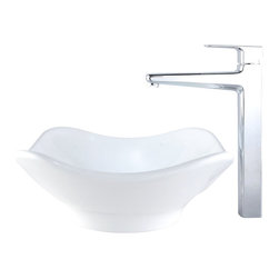Kraus - Kraus C-KCV-135-15500BN White Tulip Ceramic Sink and Virtus Faucet - Add a touch of elegance to your bathroom with a ceramic sink combo from Kraus