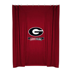 Sports Coverage - NCAA Georgia Bulldogs College Bathroom Accent Shower Curtain - Features: