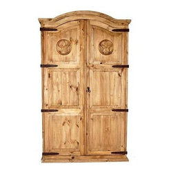 Million Dollar Rustic - Full Door Armoire w Texas Star - Classical style armoire. Three shelves. Adjustable shelves. Garment rod for hanging. Warranty: One year. Made from white pine. Inside: 41 in. W x 19 in. D. x 69 in. H. Overall: 46 in. W x 25 in. D x 76 in. H (130 lbs.)