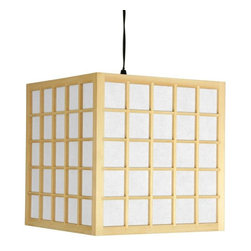 "Oriental Furniture - 12.5"" Japanese Window Pane Hanging Lantern - A classic Japanese design in traditional ""washitsu"" style, with a durable washi paper lamp shade reinforced with beautiful shoji window pane wood lattice. A substantial hanging lantern, practical and convenient, with the light switch built into the power cord. Unlike ceiling light fixtures, this lantern requires only simple assembly and does not require installation into the ceiling. You can hang this lantern on a hook in the ceiling; in an entry way, over a stair case, in a hall way, or over a dining table, desk, or reading chair. The unique design adds an attractive Asian decorative element, and the washi paper shade casts a soft, warm, indirect light throughout the room."