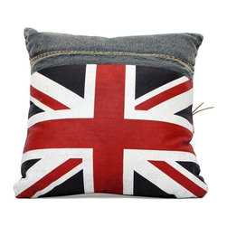 Zuo Modern - Cowboy Pillow in Blue Denim - This Cowboy Pillow is covered in blue denim with a gorgeous English flag pattern. Also available with Italily flag and USA flag patterns.