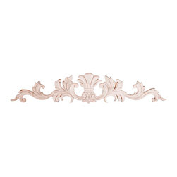 "3364 Wood Applique 18"" x 3-1/2"" - Decorative wood onlays and appliques, are decorative ornaments useful for bringing visual interest to flat areas. Embossed wood onlays and appliques are often used to decorate fireplace mantels, stove or range hoods and cabinetry headers."