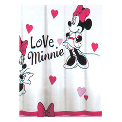 Jay Franco and Sons - Disney Minnie Mouse Love Hearts Bathroom Shower Curtain - Features: