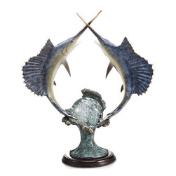 """SPI - Underwater Duel Sailfish with LED Light - -Size: 24"""" H x 21"""" W x 10.5"""" D"""