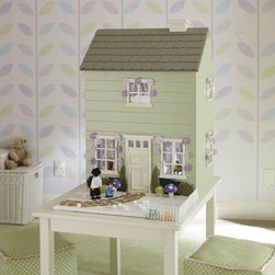 """Westport Dollhouse - The Westport dollhouse is the ultimate playroom must-have. 21"""" wide x 18"""" long x 31"""" high Features a shingled roof, weathered wood finish, and a front door that opens and closes."""