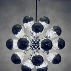Control Brand - The Mercury Sputnik Chandelier - Includes twenty nine E26 40 watt lightbulbs crafted into globe. Inspired by mid century designs in the 60s.. Made from carbon steel and chrome. 23.63 in. Dia. (16.5 lbs.)This chandelier looks great even when it is not lit.