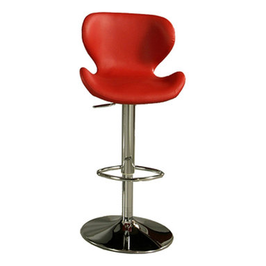 Pastel Furniture - Pastel Cagliari Hydraulic Barstool - Chrome - PU Red - The Cagliari hydraulic barstool with a Chrome base is upholstered in PU Red. This elegant set will definitely make a bold statement at your next cocktail party.