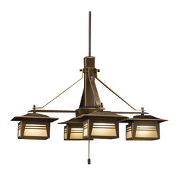 Kichler - Kichler 15409OZ Zen Garden 12V Outdoor Chandelier - Low Voltage Lighting - This minimal, arts and crafts design can illuminate outdoors where weather exposure becomes an issue. Brass will patina over time if unprotected but will resist corrosion. Subtle contemporary Asian style accents any backyard room for sophisticated exterior designers.