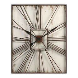 iMax - Montgomery Wall Clock - The Montgomery wall clock has an antiqued cream wood base and metal Roman numeral face. Looks great with a variety of decor.