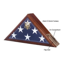 "Urn and Flag Case, funeral Flag Case - Honor the memories of  a loved one in true patriotic style. The Eternity Case blends the functionality of a dignified urn with a display for a Presidential flag. The built-in urn compartment has a spacious 225"" capacity in the back of the flag case.  It also boasts the embossed Great Seal of the United States on an elegant beveled glass."