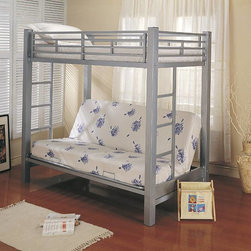 Coaster - Twin Over Futon Bunk Bed - The rugged construction and contemporary lines of this metal bunk bed make a statement in your bedroom.  The twin bed on top sleeps comfortably, while the full size bottom frame offers convenient seating during the day.  Mattresses and accessories are sold separately to complete this stylish metal bunk bed.  The simple style of this bunk bed provides all the necessary space your children need for sleeping or just relaxing.  Futon can be used as a seating area or pulled out as an extra bed. Mattresses not included. Twin over futon bunk bed. Metal frame. Built-in side ladders for convenient access. Requires twin size mattress - maximum 8.5 in. thick. Casual style. Full length guard rails for safety. Futon provides comfortable place to read favorite books. Fold futon back and create an additional bed during sleep over. 80 in. L x 43.37 in. W x 72 in. H. Top weight capacity: 150 lbs.. Futon weight capacity: 200 lbs.. Warranty. Bunk Bed Warning. Please read before purchase.. NOTE: ivgStores DOES NOT offer assembly on loft beds or bunk bedsEstablish a room for your child that is inviting and charming with the twin over futon bunk bed.
