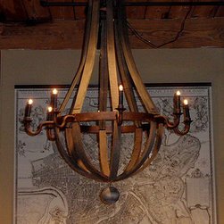 Reclaimed Wood Barrel Chandelier - These chandeliers are made from reclaimed French oak barrel staves - instant character and a story to boot!