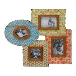 Selectives - Patchwork Distressed Multi Photo Frame - Impress your guests with the unique distinction of our one of a kind collage picture frame in a colorful distressed finish.
