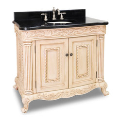 Hardware Resources - Hardware Resources Antique White Ornate Vanity, Black Granite Top - This 39 in  wide solid wood vanity features hand-carved botanical and rope details and framed with reed-style columns. The antique white finish is created by hand, making each vanity unique. This vanity features a patented inner drawer fitted around the plumbing, equipped with ball bearing slides, and additional cabinet space for storage. This vanity has a 2.5 cm black granite top preassembled with an H8809WH (15 in  x 12 in ) bowl, cut for 8 in  faucet spread, and corresponding 2 cm x 4 in  tall backsplash. Overall Measurements: 39-11/16 in  x 22-3/4 in  x 33-11/16 in  (measurements taken from the widest point)