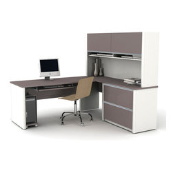 Bestar - Bestar Connexion Slate & Sandstone 71 x 83 L-Shaped Workstation Desk - The desk is made of durable 1 inch commercial grade work surface with melamine finish that resist scratches stains and wears. It features an impact resistant 0.25 cm PVC edge. Grommets and a rubber strip are available on the station for efficient wire management. The hutch for credenza offers two flip up doors large closed storage space efficient wire management and two large paper shelves. The doors are fitted with strong lift up hardware. The assembled oversized pedestal facilitate the assembly and offers two file drawers with letter/legal filing system. The drawers are on ball-bearing slides and the keyboard drawer features double-extension slides for a smooth and quiet operation. The workstation meets or exceeds ANSI/BIFMA performance standards and is fully reversible. Also available in Bordeaux and Slate finish. Connexion is a contemporary and durable collection that features a wide variety of configuration options that will adapt to your specific needs.Nowadays performance productivity and quality of life are fundamental to achieving our personal and professional goals. Bestar's home and office furniture design is based upon these criteria as well as on today's reality. On average we spend about 40 hours a week at work (home or office) which represents a large portion of our time. Various factors have a direct impact on our well-being at work: an important concern in the current employment environment continually changing and at an ever-increasing pace. Therefore organizing your space is certainly a parameter to consider. Features include Strong and large work surface Plenty of room to organize your documents Storage space for your documents and personal items. Specifications Finish/color: Slate & Sandstone.