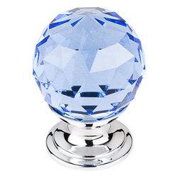 "Top Knobs - Blue Crystal Knob 1 1/8"" w/ Polished Chrome Base - Width - 1 1/8"", Projection - 1 1/2"", Base Diameter - 15/16"""