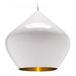 Tom Dixon - Tom Dixon Beat Stout White Pendant Light - The Beat Stout White Pendant Light is designed by Tom Dixon and made by Tom Dixon. A spun brass shade with hand-beaten interior and finished with a high gloss white powder coat exterior. Both the interior and exterior are lacquered to prevent oxidization. Beat Light White is also available in Fat, Wide and Tall versions.The water carrying vessels that are still carried on heads all over India provided the first inspiration for this series of pendant lights. The Beat Light is made from hand beaten brass; using rapidly vanishing skills from Indian master craftsmen. Beat shades are formed by hand through spinning and beating techniques making each shape unique. The exterior has a high gloss white powder coat finish contrasting with the warm golden interior. Both interior and exterior are lacquered to prevent oxidation. Provides direct illumination.         Product Details: The Beat Stout White Pendant Light is designed by Tom Dixon and made by Tom Dixon. A spun brass shade with hand-beaten interior and finished with a high gloss white powder coat exterior. Both the interior and exterior are lacquered to prevent oxidization. Beat Light White is also available in Fat, Wide and Tall versions.The water carrying vessels that are still carried on heads all over India provided the first inspiration for this series of pendant lights. The Beat Light is made from hand beaten brass; using rapidly vanishing skills from Indian master craftsmen.  Beat shades are formed by hand through spinning and beating techniques making each shape unique. The exterior has a high gloss white powder coat finish contrasting with the warm golden interior. Both interior and exterior are lacquered to prevent oxidation. Provides direct illumination. Details:                         Manufacturer:            Tom Dixon                            Designer:            Tom Dixon                            Made in:            United Kingdom                