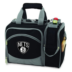 """Picnic Time - Brooklyn Nets Malibu Picnic Pack in Black - Insulated pack with picnic service for 2 made of 600D polyester canvas. The elegant and unique Malibu shoulder pack is perfect for picnics, concerts, or travel. This tote has an integrated wine storage section and a spacious food storage section with removable liner. The adjustable shoulder strap makes it easy to carry. A wonderful gift idea.; Decoration: Digital Print; Includes: 2 plates (melamine, 9"""", Nouveau Grapes design), 2 wine glasses (acrylic, 8 oz.), 4 napkins (100% cotton, 14 x 14"""", Nouveau Grapes design), 2 (18/0) stainless steel forks, knives, and spoons, 1 hardwood cutting board (6 x 6""""), 1 stainless steel cheese knife with wooden handle, and 1 stainless steel waiter-style corkscrew"""
