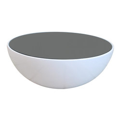 Egg Coffee Table, White - This beautiful coffee table is a minimal modern classic. It features beautiful rounded curves, and is available in two color combinations. The glass top comes in either a gorgeous, sleek black with white base or an opaque greenish tint top with silver base.  A clean and modern design that would enhance any room.