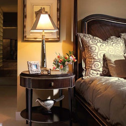 Tango Collection - Marge Carson's Tango Nightstand and Bed. Also Pictured is Marge Carson's Palisades Bedding.