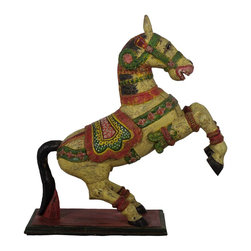 "Wooden Jumping Horse 34"" - Decorated horse depicts the victory of the Rajput's over their foes. It is customary to decor the Kinds horse to the best in the ceremony to celebrate the win of the army over their foes."