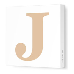 """Avalisa - Letter - Upper Case 'J' Stretched Wall Art, 18"""" x 18"""", Light Brown - Spell it out loud. These uppercase letters on stretched canvas would look wonderful in a nursery touting your little one's name, but don't stop there; they could work most anywhere in the home you'd like to add some playful text to the walls. Mix and match colors for a truly fun feel or stick to one color for a more uniform look."""