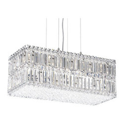 Schonbek - Quantum Stainless Steel 18-Light Clear Spectra Crystal Pendant Light, 24W x 9H x - -Spectra Crystal: Spectra Crystal is cut Swarovski crystal with reliable quality. Spectra Crystal has been a registered trademark since 1999 and offers the most important cuts in clear crystal.  - Quantum is a contemporary design that may take the shape of a strip, box or block. Square, rectangular and octagonal crystal jewels are densely arranged and precisely positioned for a wild display of prismatic color. Also Made with Swarovski Elements.  -Clear Spectra Crystal  - Wire Length (in inches): 144  - Fixture is cable hung  - Light Source: Halogen  - Bulbs Included  - Chain Length (in inches): 144  - Uses standard line volt dimmer  - Some assembly required  - Lead free crystal  - For shipping outside of USA, please contact Bellacor customer service  - Cleaning and Care Instructions: Every Schonbek product is of heirloom quality and will last for generations. To ensure it retains its brilliance and splendor for years to come, proper care and regular cleaning are necessary. It is recommended that Schonbek products, and particularly their crystal trim, be lightly dusted with a feather or lambswool duster, or soft brush every two months, or whenever it appears dull or dusty. Consult the fixtures trim diagram for detailed cleaning instructions list of approved cleaning solutions. Schonbeck fixtures should never be subjected to any chemical cleaning agents. - See packaging insert for warranty information. Schonbek  - 2280A