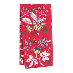 KAF Home - Botanical Red Floral Napkin, Set of 4 - The botanical floral pattern napkin pairs wonderfully with its reversible geometric pattern to create an exotic clash of designs. This napkin is suitable for a formal or casual occasion.