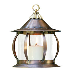 H Potter - San Simon Lantern - Reminiscent of a merry-go-round, this lovely lantern has curved supports that extend from top to base. You can also see the thoughtful details, such as rivet accents and a finial with a hanging hook.