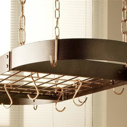 Rogar - Oval Grid Pot Rack in Hammered Copper w Hooks - Lids can be placed on top of grid. Includes 8 regular and 4 grid hooks. Hammered Copper w Copper accessories. 34 in. L x 16 in. W x 2 in. H (13 lbs.)