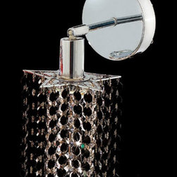 Elegant Lighting - Mini Star Chrome One-Light Bath Fixture with Royal Cut Jet Black Crystal and Rou - Royal Cut crystal is a combination of high quality lead free machine cut and machine polished crystals and full-lead machined-cut crystals to meet a desirable showmanship of an authentic crystal light fixture.  -Recommended to be professionally hung and supported independently of the outlet box. Consult an electrician for guidance to determine the correct hanging procedure.  -Crystals may ship separately and some assembly is required.  -Depending on the size & design the assembly can be time consuming, but is well worth the effort. Elegant Lighting - 1281W-R-P-JT/RC