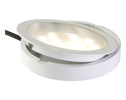 """Tresco - Tresco POC-1LEDSFR-WWH 1.5 Watt LED Pockit Light - White - Bathe the underside of your cabinets in warm white lighting while consuming less energy and generating less heat than traditional lighting. Replaceable 1.5 Watt long-life LED chips carry a 25,000 hour end of life rating and are easily replaced. The flat LED bulbs radiate a 90 viewable range of light, broader than standard LEDs. Lights can be recessed or surface mounted to achieve the right look for your project. The Tresco POC-1LEDSFR-WWH features a 79'' connecting cord and requires a Tresco Transformer (sold separately), which can power up to six Pockit Lights. If a longer lead is required, linking cords are also sold separately. Size Specifications: 2-1/2"""" x 3/8"""". Requires 2-1/4"""" diameter hole for recessed mounting."""