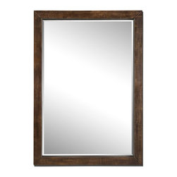 """Carolyn Kinder - Carolyn Kinder 13812 Cesano Floor Mirror - This oversized mirror is finished in brushed, heavily antiqued, rustic bronze. Mirror features a generous 1 1/4"""" bevel. May be hung either horizontal or vertical."""