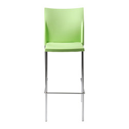 Euro Style - Yeva Bar Chair (Set Of 2) - Green/Chrome - Polypropylene in brown, green or white and a solid chromed steel frame. But wait there's more. A very nice design touch that makes Yeva stand out. The seat back has small 'wings' that make the chair extra sturdy and imply armrests without taking up the space.