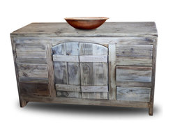 Old World Vanity, 36x20x32 - This gorgeous old world vanity is made from 100% reclaimed barnwood.  The barnwood is sanded to a smooth, buttery finish, but still leaves the rustic appearance.  The top is sealed to protect it from water damage. Rustic hardware is available.