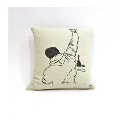 reStyled by Valerie - Rocky Decorative Pillow, Throw Pillow Cushion Cover Modern Pillow, Linen Pillow - Yo, movie lovers. This pillow cover adds a sly nod to Philly and a graphic punch to your room. The image is screen printed on one side of a linen blend fabric case that has a zipper ready for your odds-on favorite pillow insert.