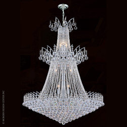 Worldwide Lighting Empire Chandelier W83052C32 - Worldwide Lighting Empire Collection 18 light Chrome Finish and Clear Crystal Chandelier