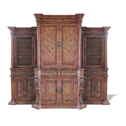 Koenig Collection - Traditional Tuscan Entertainment Center Lima, Barcelona Distressed - Lima Entertainment Center, Barcelona Distressed