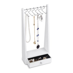 Jewelry Closet - It's a snap organizing your jewelry on this boutique-inspired rack. Favorite rings and earrings tuck safely into the bottom drawer, while your best statement necklaces bejewel your nightstand from cute hanger-shaped hooks.
