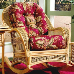 Spice Island Wicker - Wicker Frame Rocker Chair (Yvonne Aloe - All Weather) - Fabric: Yvonne Aloe  (All Weather)Attention to detail brings charm to this rocker from the Spice Island Collection.  High back wraps beautifully into the wide armrests with cane framing and wicker insets.  Deep cushions and button-tufted back offer inviting comfort for relaxation on the patio.  Rock and relax in this inviting wicker and rattan rocking chair.  Sturdy natural finsihed rattan frame is accented with decorative wicker detail. * Solid Wicker Construction. Natural Finish. For indoor, or covered patio use only. Includes cushion. 32.5 in. W x 41.5 in. D x 37.5 in. H