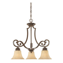 Designers Fountain - Designers Fountain Mendocino Traditional Chandelier X-NSF-38818 - This simple but elegant Designers Fountain chandelier features classic scrollwork paired with fluid curves and subtle contemporary influences. From the Mendocino Collection, it features three beautiful warm amber glaze glass shades paired with a rich, golden-toned Forged Sienna finish.