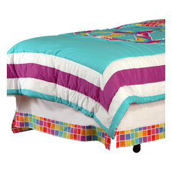 "Terrific Tie Dye - Twin Bed Skirt - Be one of a kind with our  bold and beautiful collection ""Terrific Tie Dye"".  Twin bed skirt is designed in solid white cotton fabric with trim in ""Tie Dye"" cotton print fabric."