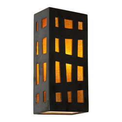 A19 Lighting - Grid Modern Wall Sconce Gunmetal and Tangelo - The Grid Wall Sconce Features A Rectangular Box Lantern Design With Colored Panes Of Glass Framed By Asymmetrical Grid Lines On Three Sides. Light Shines Through Openings At The Top, The Bottom And Creates A Warm Glow Through The Glass. Handmade To A19'S Exacting Standards, Using A Kiln-Fired Ceramic Base And Recycled Window Glass From Local Sources.Height:13.75