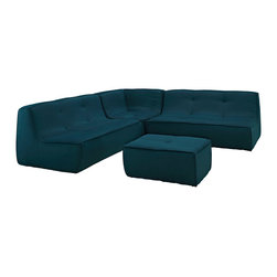 Modway - Align 4 Piece Upholstered Sectional Sofa Set EEI-1288 Azure - There are sectional sets that claim to be modern by portraying some enlightened path forward. But for every one of these efforts, is an equal and opposite reaction. The more we use our own guile to paddle forward, the more the stream of present reality seems to rush against us. Align was designed as an attempt to wash away those hindrances that obstruct growth. If there had been a choice, the designers would have kept Align just that. But while a sectional sofa set needs to be made curved, the intent was to stay true to the original concept. Align comes generously padded and upholstered in fine fabric, with slight button tufting and trim for only the gentlest effect.