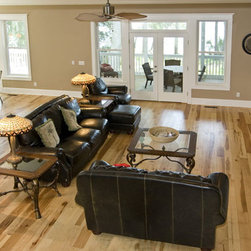 Hickory Wood Flooring Design Inspiration - Natural hickory wood flooring in a traditional living area.