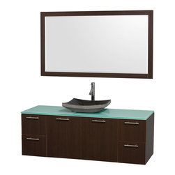 """Wyndham Collection - Amare 60"""" Espresso Single Sink Vanity Set w/ Green Glass Top & 58"""" Mirror - Modern clean lines and a truly elegant design aesthetic meet affordability in the Wyndham Collection Amare Vanity. Available with green glass or pure white man-made stone counters, and featuring soft close door hinges and drawer glides, you'll never hear a noisy door again! Meticulously finished with brushed Chrome hardware, the attention to detail on this elegant contemporary vanity is unrivalled."""
