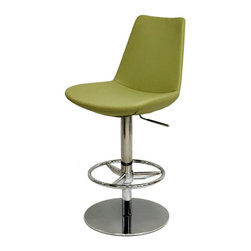 Eiffel Piston Barstool by sohoConcept - Cool pistachio is just one of the luscious colors available for the upholstery on the chrome or stainless steel based piston stool. It has a 360 degree swivel and glides easily from counter to bar height at the touch of a lever.