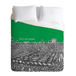 DENY Designs - Bird Ave Notre Dame Green Duvet Cover - Turn your basic, boring down comforter into the super stylish focal point of your bedroom. Our Luxe Duvet is made from a heavy-weight luxurious woven polyester with a 50% cotton/50% polyester cream bottom. It also includes a hidden zipper with interior corner ties to secure your comforter. it's comfy, fade-resistant, and custom printed for each and every customer.